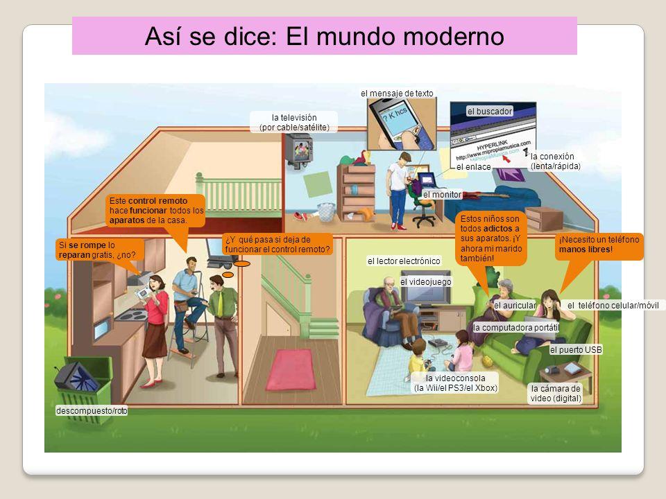 Así se dice: El mundo moderno la televisión (por cable/satélite) el mensaje de texto el buscador la conexión (lenta/rápida) el enlace el monitor el le