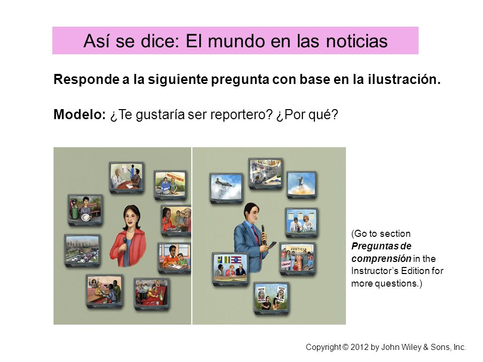 Así se dice: El mundo en las noticias Copyright © 2012 by John Wiley & Sons, Inc.