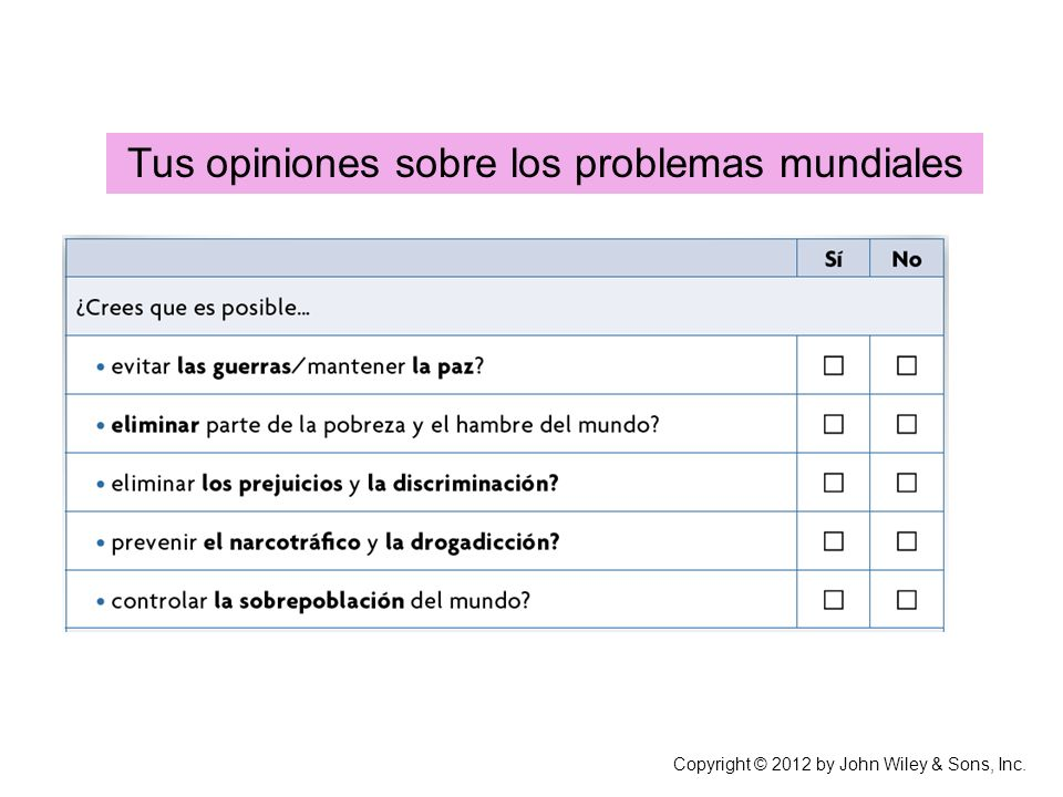 Tus opiniones sobre los problemas mundiales Copyright © 2012 by John Wiley & Sons, Inc.