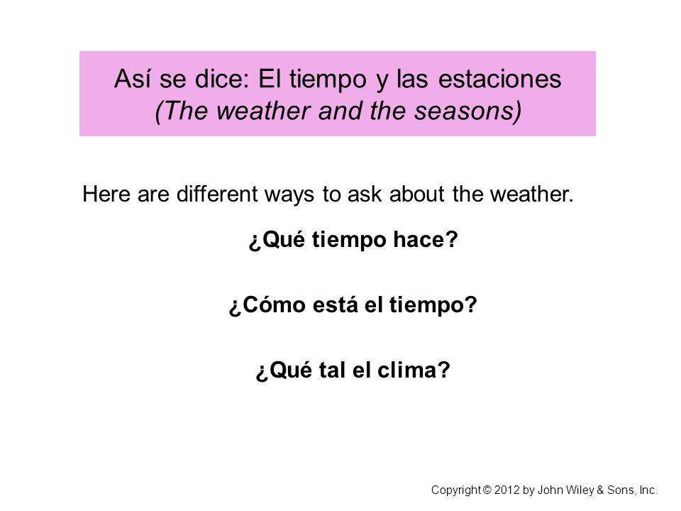 Así se dice: El tiempo y las estaciones (The weather and the seasons) Here are different ways to ask about the weather.