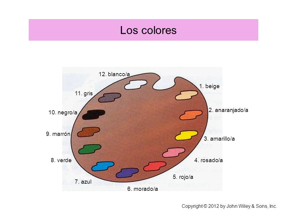 Los colores 1.beige 2. anaranjado/a 3. amarillo/a 4.