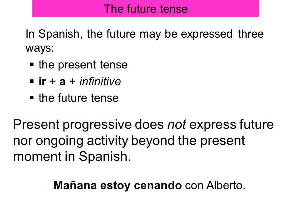 The future tense In Spanish, the future may be expressed three ways: the present tense ir + a + infinitive the future tense Present progressive does n