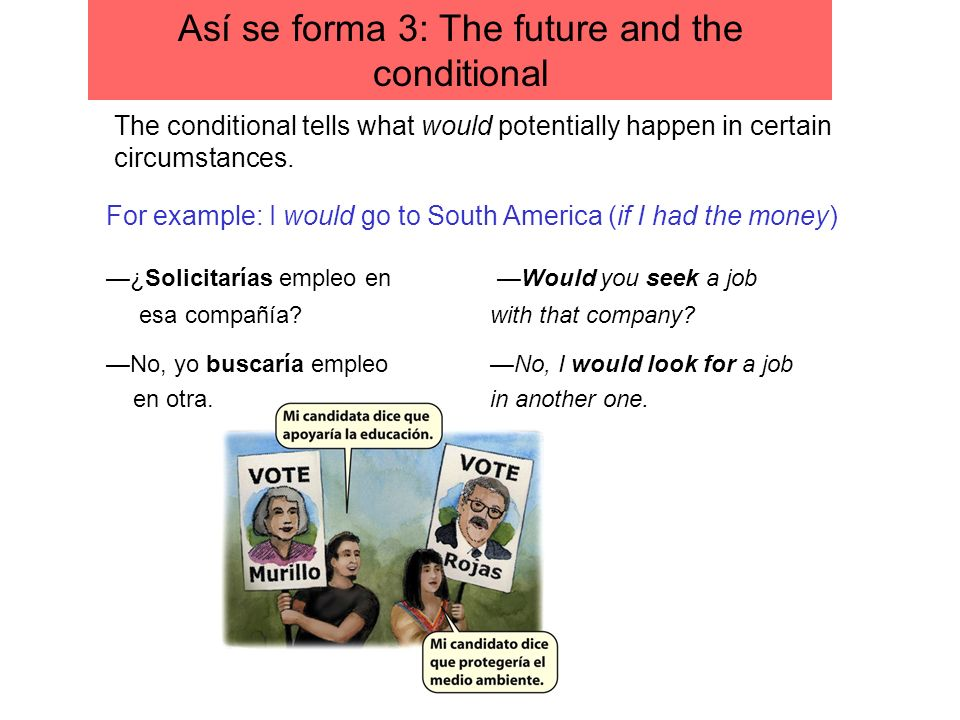 The conditional tells what would potentially happen in certain circumstances. For example: I would go to South America (if I had the money) ¿Solicitar