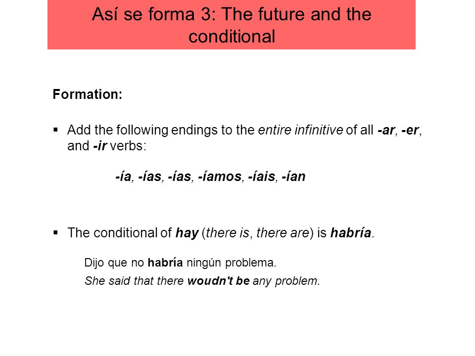 Add the following endings to the entire infinitive of all -ar, -er, and -ir verbs: Formation: The conditional of hay (there is, there are) is habría.