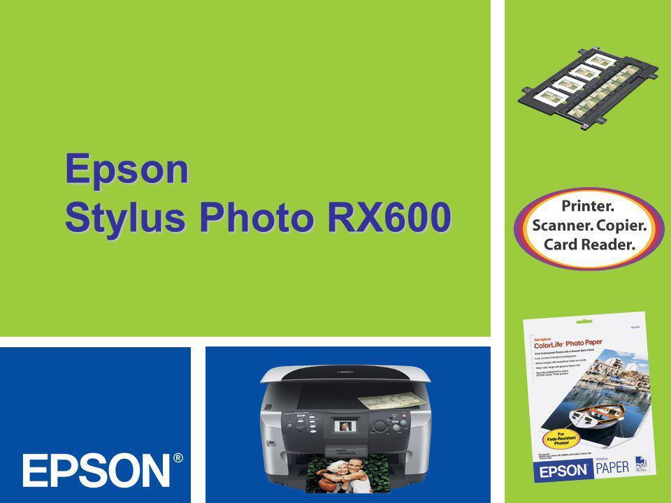 Epson Stylus Photo RX600 Hace copias de fotografías, diapositivas y negativos sin PC Es la primera multi-funcional que permite digitalizar películas sin computador Además, puede restaurar fotos en colores, diapositivas y negativos, sin usar un computador