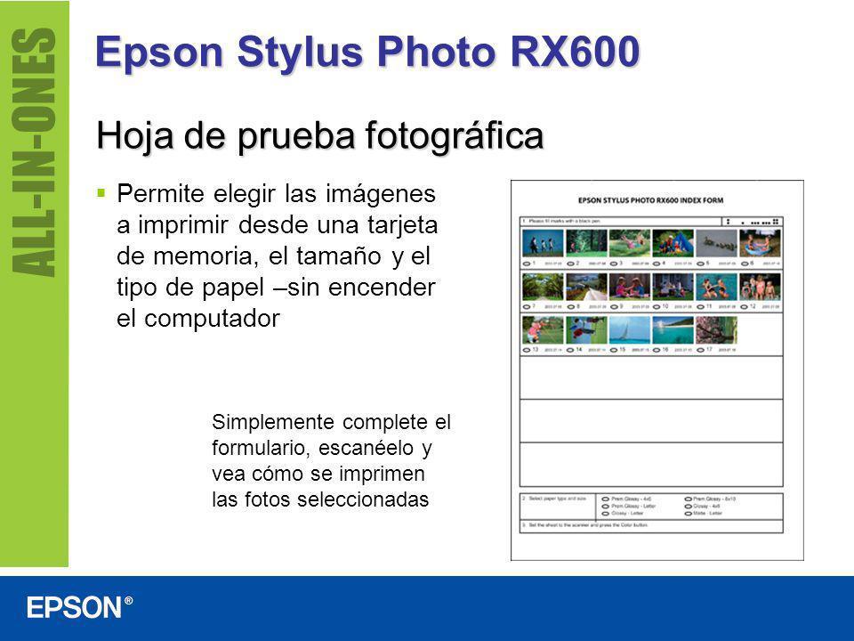Epson Stylus Photo RX600 Hoja de prueba fotográfica Permite elegir las imágenes a imprimir desde una tarjeta de memoria, el tamaño y el tipo de papel