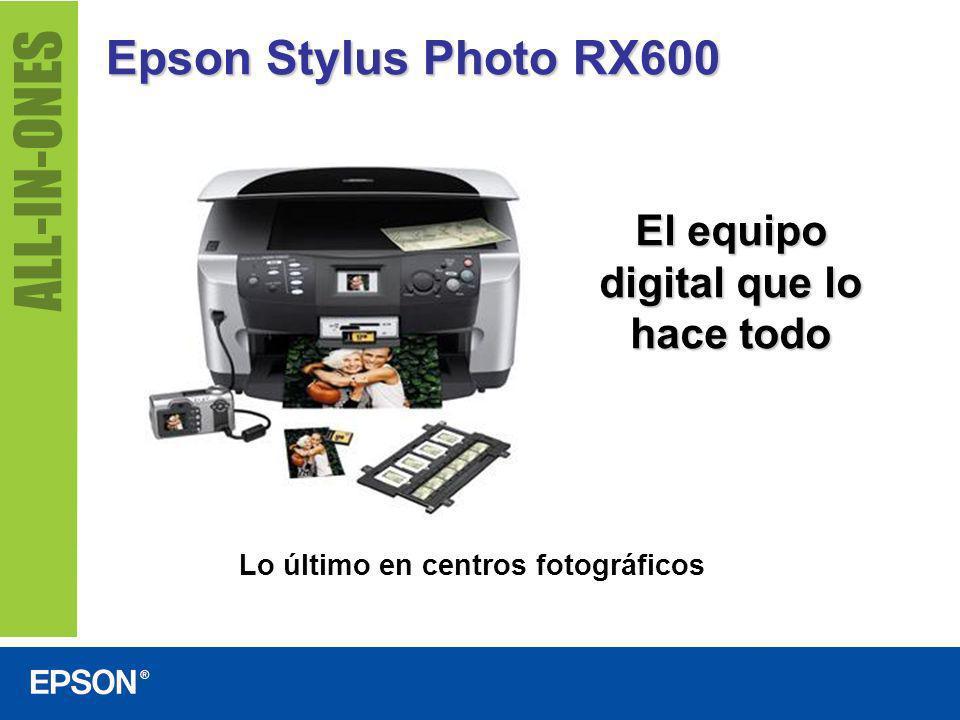 Epson Stylus Photo RX600 Fotopiado total sin computador Incluye parámetros establecidos para afiches, copias múltiples en una sola página, copias de fotos tamaño carnet y mucho más Fotopiado en negro y color de documentos cotidianos ©PhotoDisc
