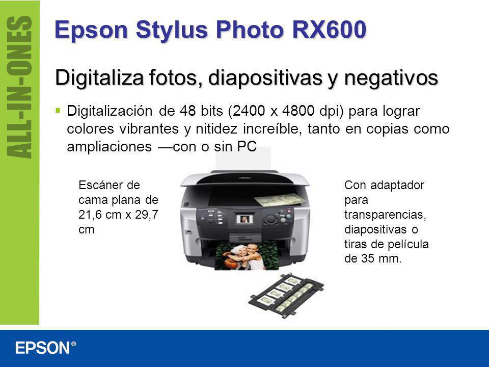 Epson Stylus Photo RX600 Impresión y almacenado de fotografías sin PC Se conecta directamente a cámaras digitales habilitadas con PictBridge y USB Direct Print (USB DP), lo que le permite imprimir inmediatamente.