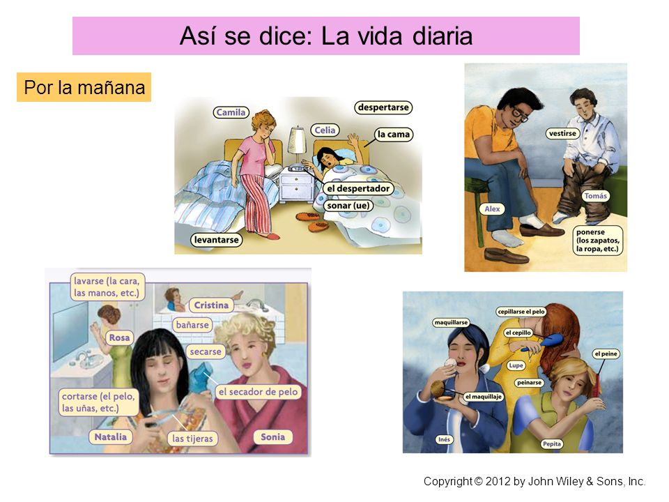 Así se dice: La vida diaria Por la mañana Copyright © 2012 by John Wiley & Sons, Inc.