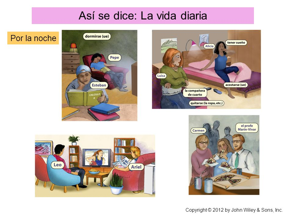Así se dice: La vida diaria Por la noche Copyright © 2012 by John Wiley & Sons, Inc.