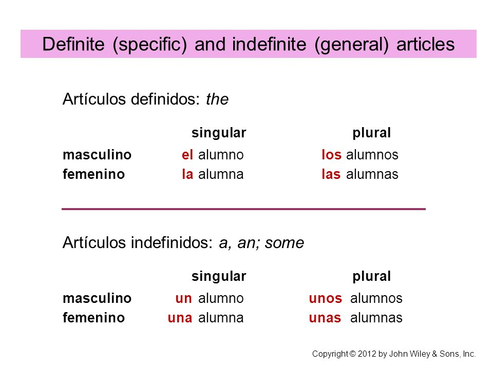 Definite (specific) and indefinite (general) articles alumno alumna alumnos alumnas Artículos definidos: the singular plural Artículos indefinidos: a,
