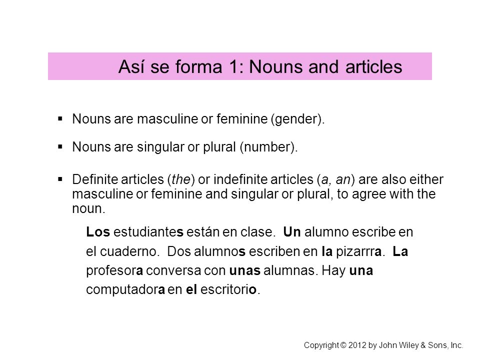 Masculine and feminine nouns Most nouns ending in -o & most nouns ending in -l or –r or –n are masculine.