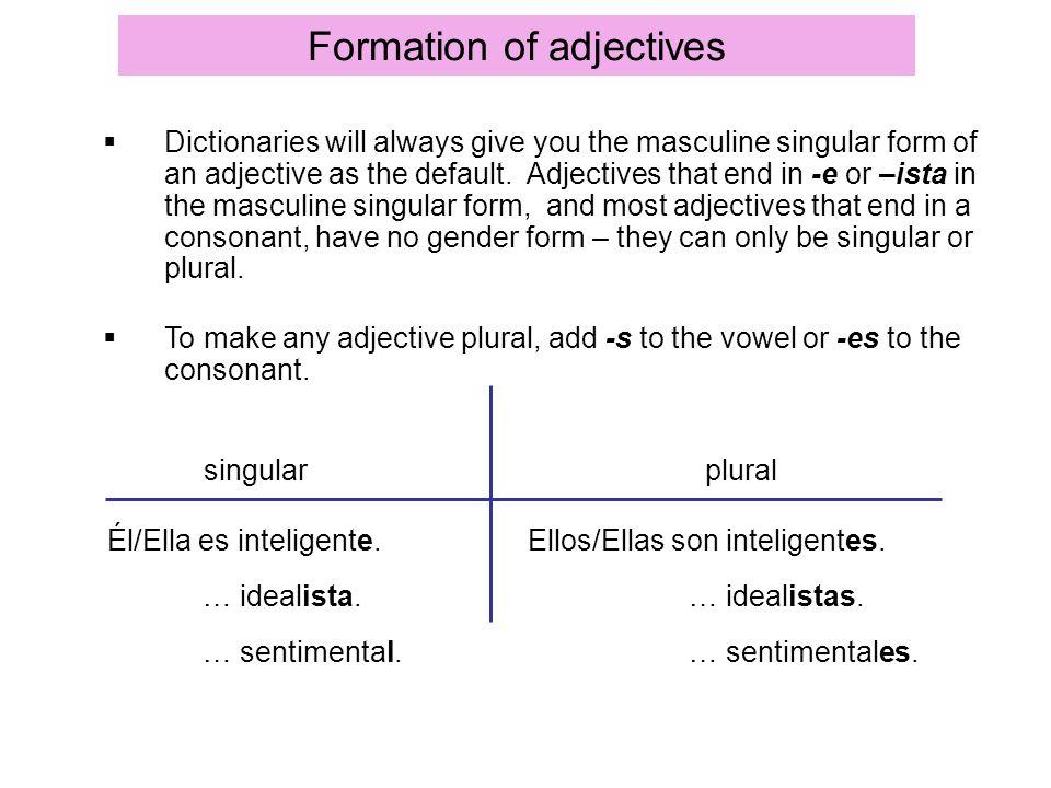 Formation of adjectives Él/Ella es inteligente. … idealista. … sentimental. Ellos/Ellas son inteligentes. … idealistas. … sentimentales. Dictionaries