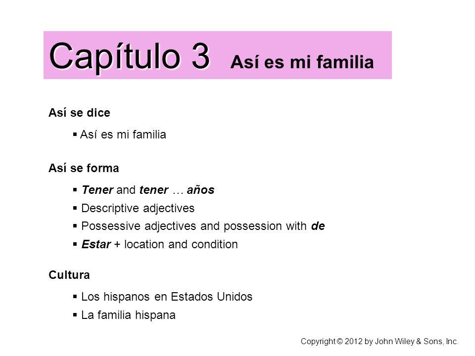 Capítulo 3 Capítulo 3 Así es mi familia Así se dice Así es mi familia Cultura Los hispanos en Estados Unidos La familia hispana Así se forma Tener and
