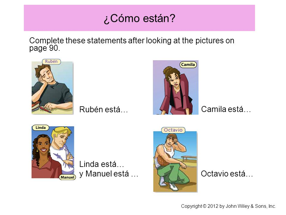 ¿Cómo están? Complete these statements after looking at the pictures on page 90. Linda está… y Manuel está … Rubén está… Camila está… Octavio está… Co