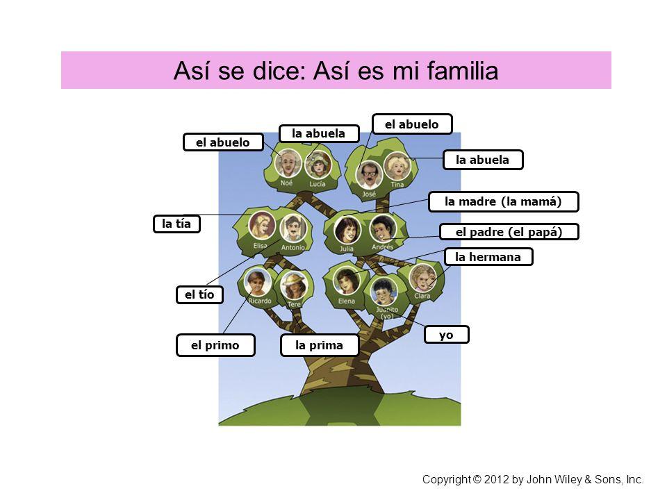 Así se dice: Así se dice: Así es mi familia Copyright © 2012 by John Wiley & Sons, Inc.