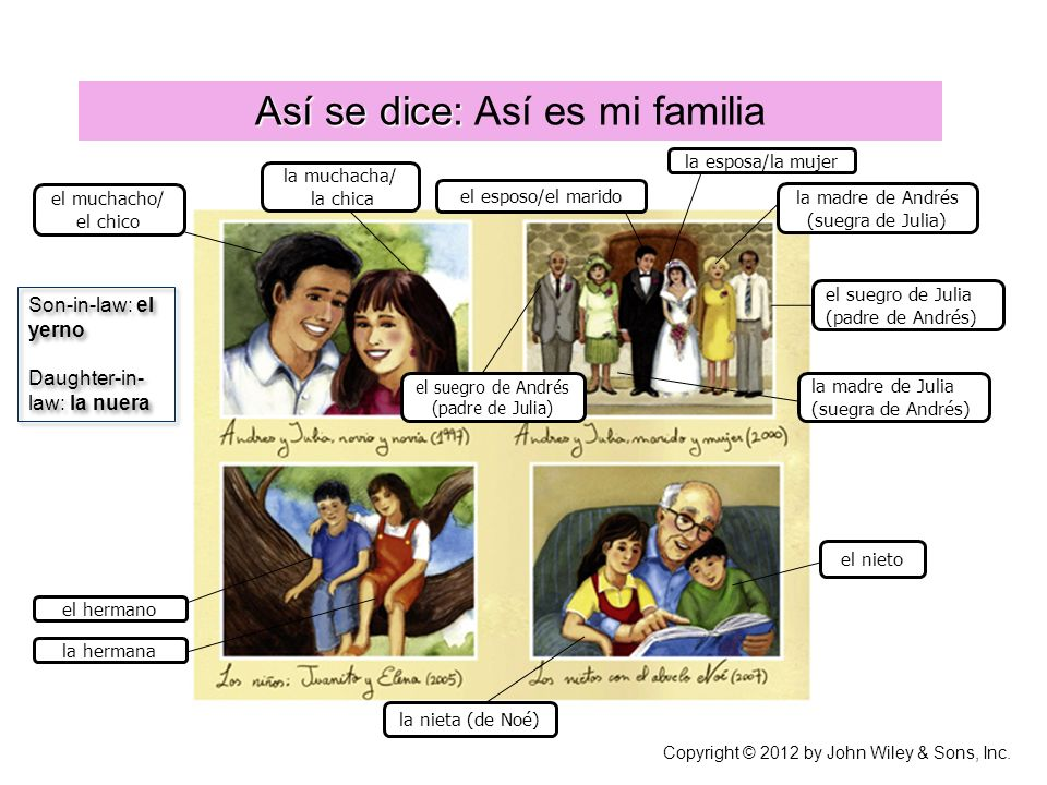 Así se dice: Así se dice: Así es mi familia Copyright © 2012 by John Wiley & Sons, Inc. el muchacho/ el chico la muchacha/ la chica la madre de Andrés