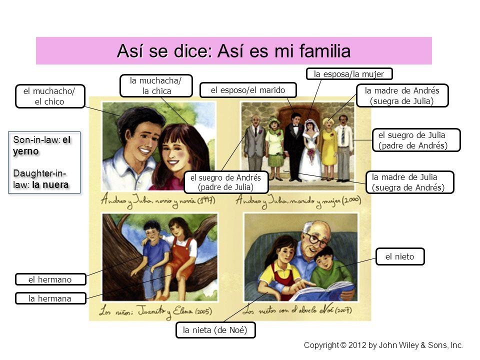 Así se dice: Así es mi familia Copyright © 2012 by John Wiley & Sons, Inc.