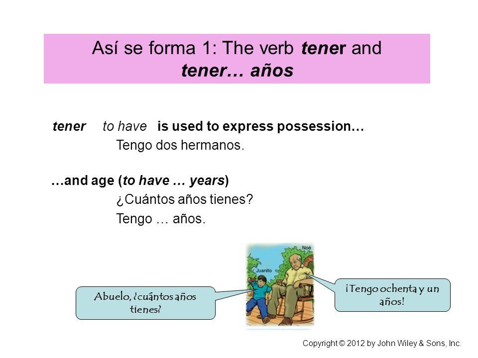 The verb tener (yo) (tú) (usted, él, ella) (nosotros/as) (ustedes, ellos, ellas) tengo tienes tiene Tenemos tienen Tengo un hermano.