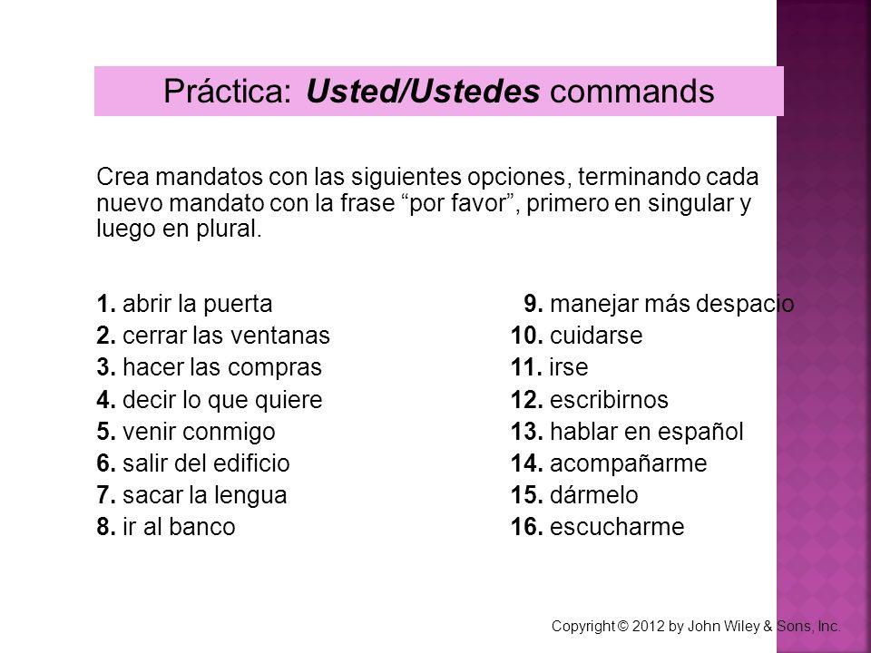 Práctica: Usted/Ustedes commands Crea mandatos con las siguientes opciones, terminando cada nuevo mandato con la frase por favor, primero en singular