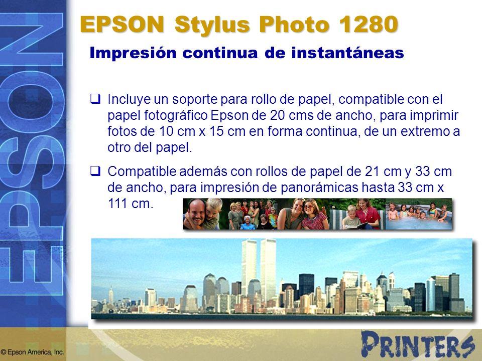 Impresión continua de instantáneas Incluye un soporte para rollo de papel, compatible con el papel fotográfico Epson de 20 cms de ancho, para imprimir fotos de 10 cm x 15 cm en forma continua, de un extremo a otro del papel.