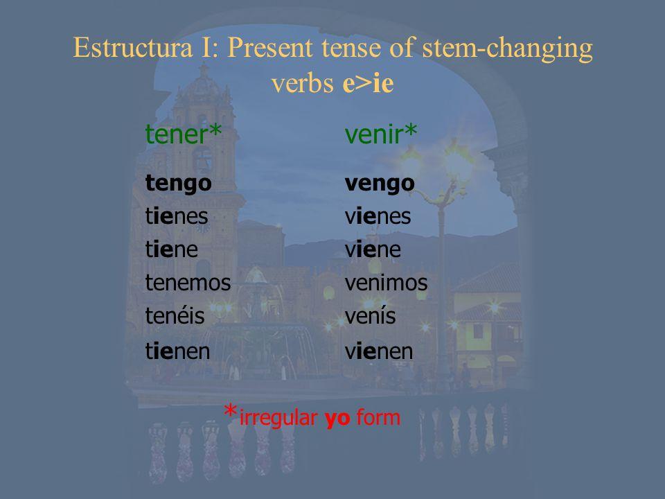 tengo tienes tiene tenemos tenéis tienen tener* venir* Estructura I: Present tense of stem-changing verbs e>ie vengo vienes viene venimos venís vienen