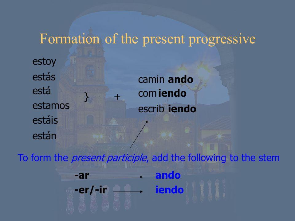 ando iendo estoy estás está estamos estáis están }+}+ camin com escrib To form the present participle, add the following to the stem ando iendo -ar -e