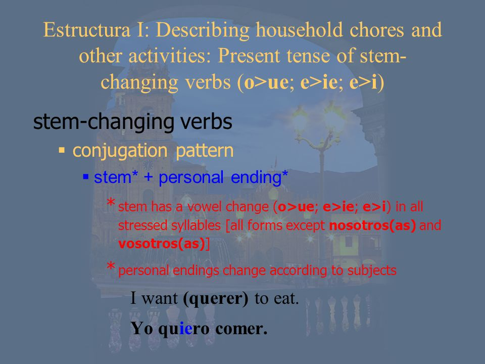 1 st piens 2 nd piens 3 rd piens 1 st pens 2 nd pens 3 rd piens no stem-change when the stress does not fall on the stem* *in the nosotros(as) and vosotros(as) forms pensar (to think) Where to change the stem when conjugating stem-changing verbs -o -as -a -amos -áis -an