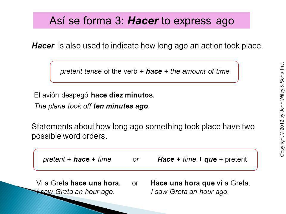 Hacer is also used to indicate how long ago an action took place.