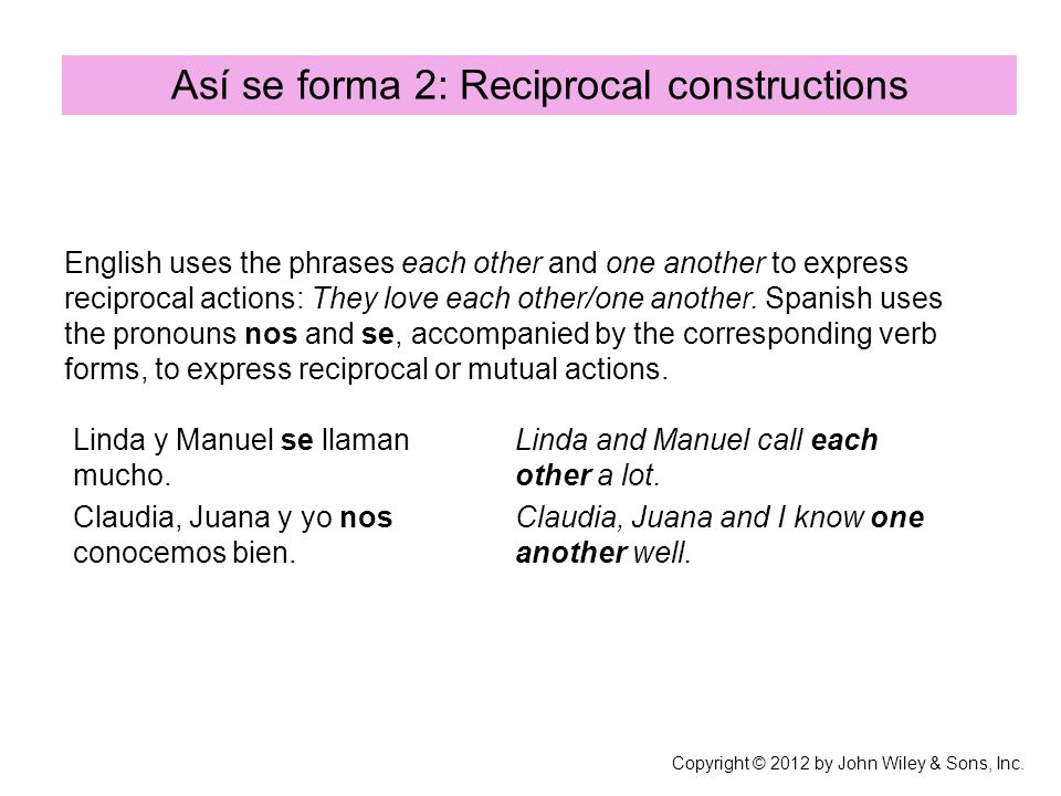 Así se forma 2: Reciprocal constructions English uses the phrases each other and one another to express reciprocal actions: They love each other/one another.