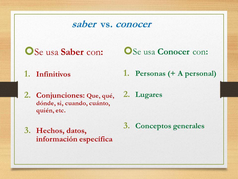 saber vs. conocer Se usa Saber con: 1. Infinitivos 2. Conjunciones: Que, qué, dónde, si, cuando, cuánto, quién, etc. 3. Hechos, datos, información esp