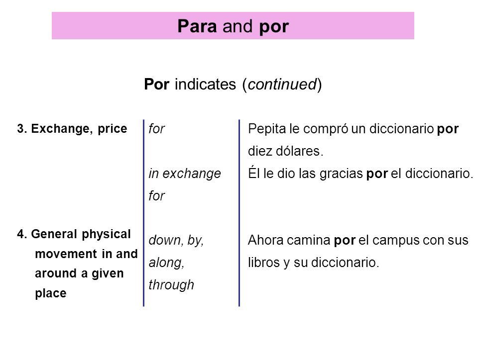 Para and por Por indicates (continued) 3. Exchange, price 4. General physical movement in and around a given place for in exchange for down, by, along