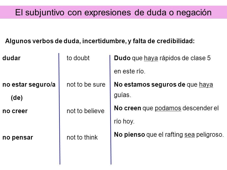 El subjuntivo con expresiones de duda o negación dudar no estar seguro/a (de) no creer no pensar to doubt not to be sure not to believe not to think D