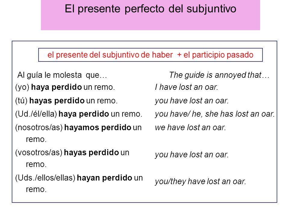 El presente perfecto del subjuntivo Al guía le molesta que… The guide is annoyed that… (yo) haya perdido un remo. (tú) hayas perdido un remo. (Ud./él/