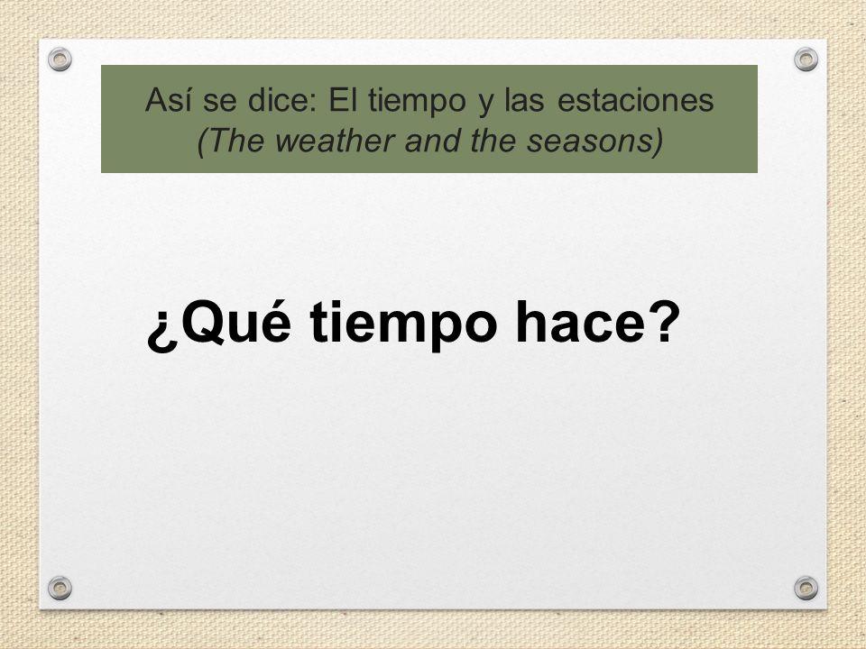Así se dice: El tiempo y las estaciones (The weather and the seasons) ¿Qué tiempo hace?