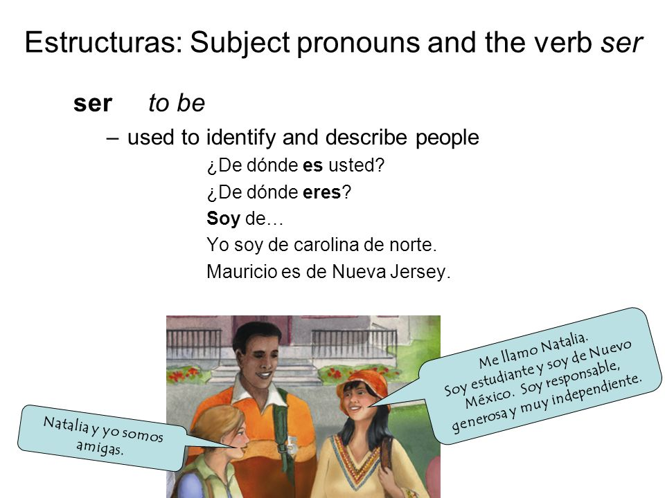 Estructuras: Subject pronouns and the verb ser ser to be –used to identify and describe people ¿De dónde es usted.