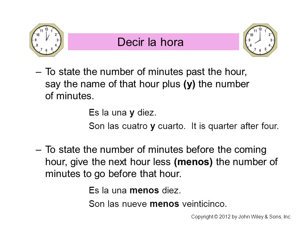 –To state the number of minutes past the hour, say the name of that hour plus (y) the number of minutes.