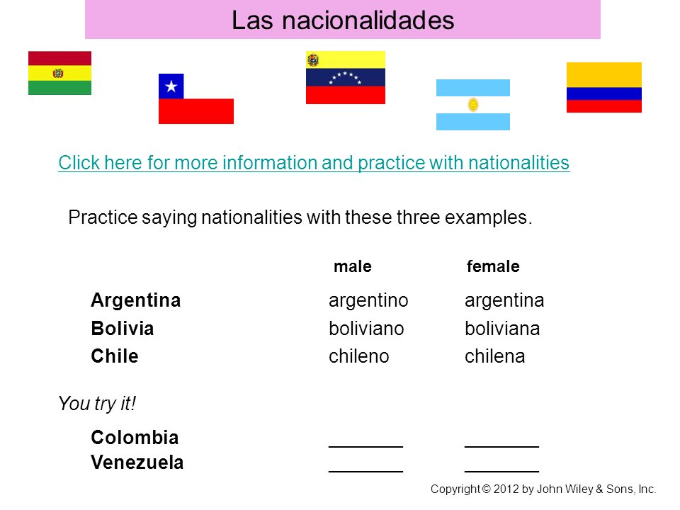 Las nacionalidades male female Argentinaargentinoargentina Boliviabolivianoboliviana Chilechilenochilena You try it.