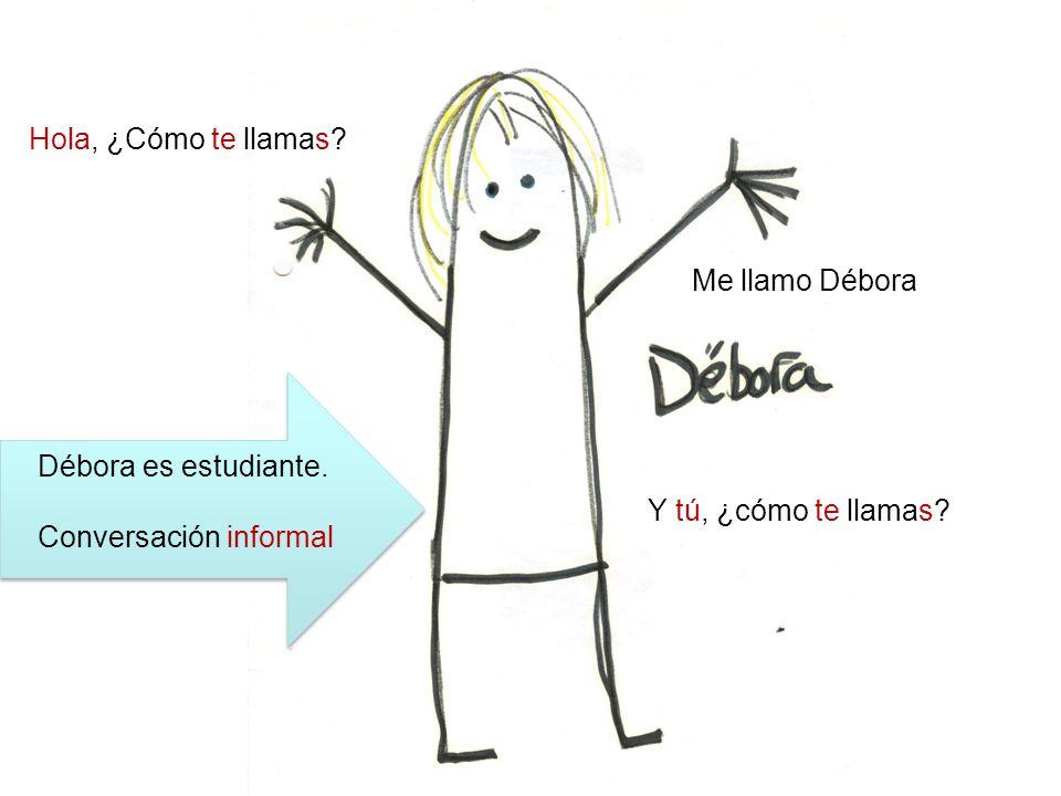 Hola, ¿Cómo te llamas? Me llamo Débora Y tú, ¿cómo te llamas? Débora es estudiante. Conversación informal