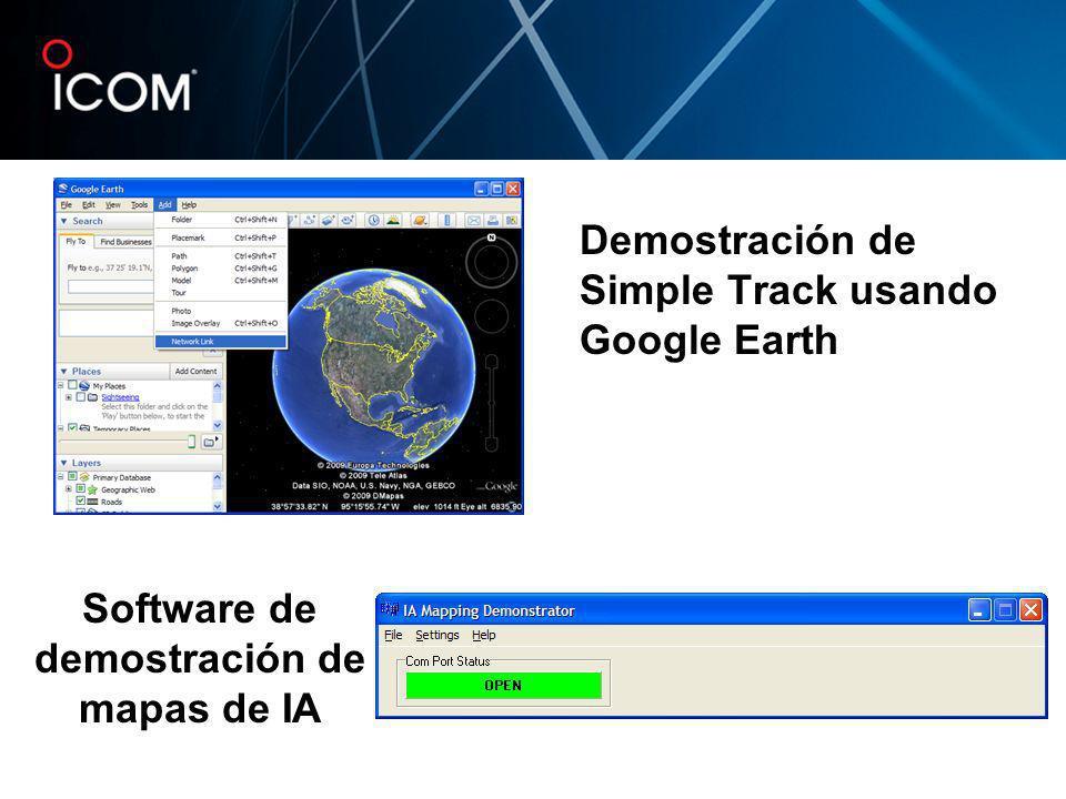 Demostración de Simple Track usando Google Earth Software de demostración de mapas de IA