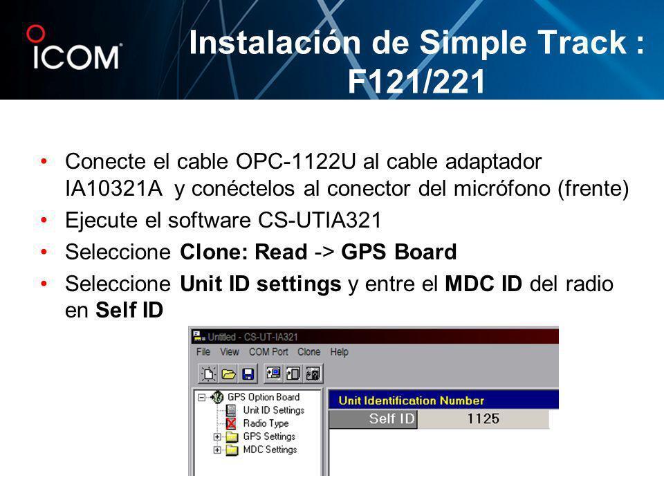 Conecte el cable OPC-1122U al cable adaptador IA10321A y conéctelos al conector del micrófono (frente) Ejecute el software CS-UTIA321 Seleccione Clone