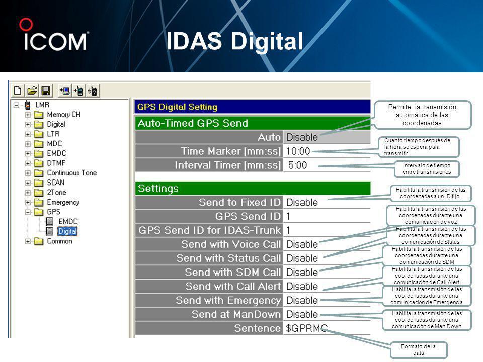 IDAS Digital Permite la transmisión automática de las coordenadas Intervalo de tiempo entre transmisiones Cuanto tiempo después de la hora se espera p