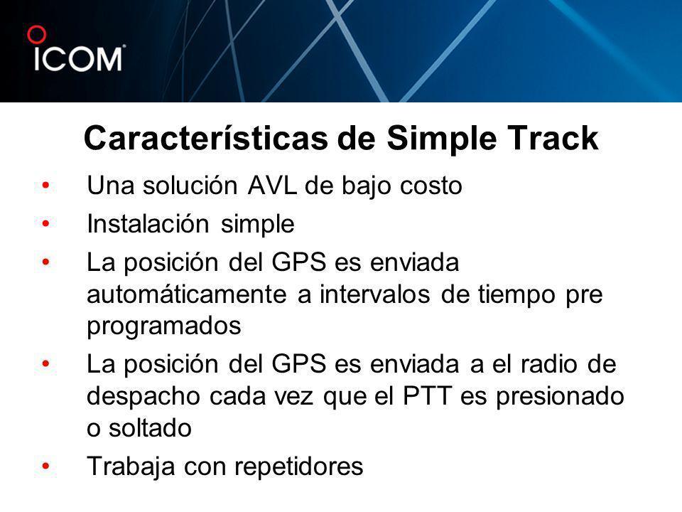 Características de Simple Track Una solución AVL de bajo costo Instalación simple La posición del GPS es enviada automáticamente a intervalos de tiemp