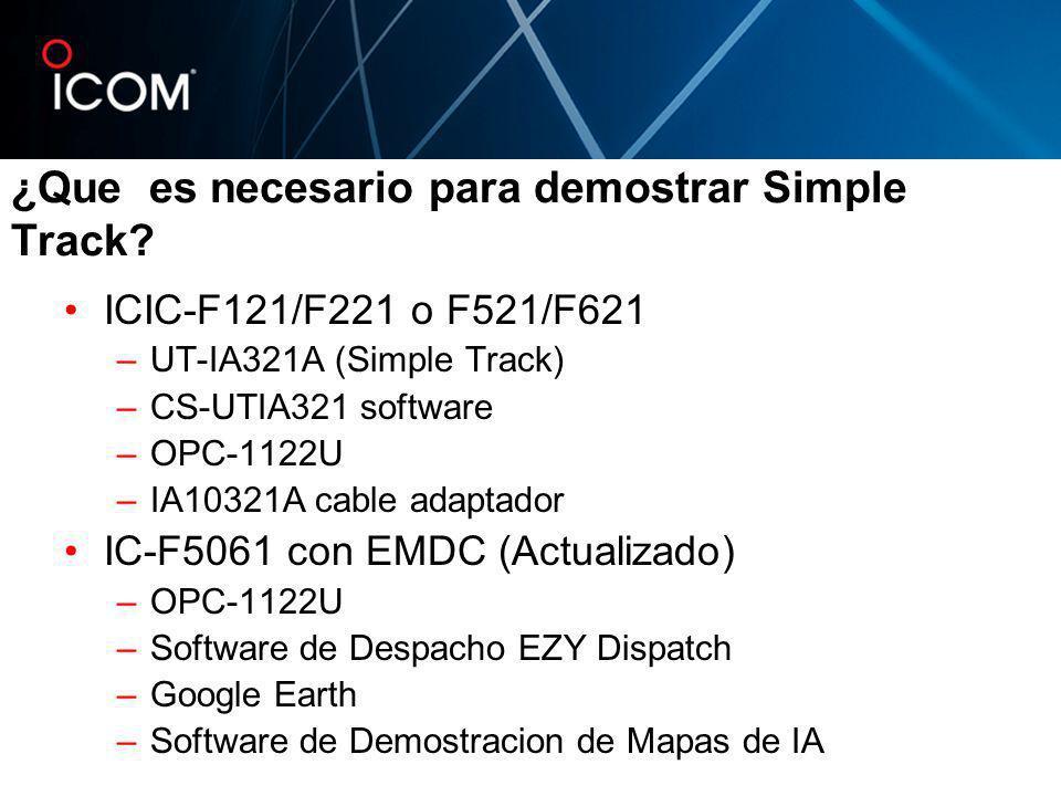¿Que es necesario para demostrar Simple Track? ICIC-F121/F221 o F521/F621 –UT-IA321A (Simple Track) –CS-UTIA321 software –OPC-1122U –IA10321A cable ad