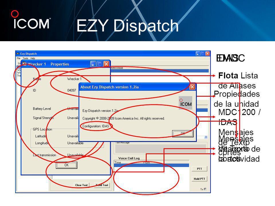 EZY Dispatch Flota Lista de Aliases Propiedades de la unidad MDC1200 / IDAS Mensajes de Textp cprtes Vitacora de la actividad Mensajes de Texto cortos