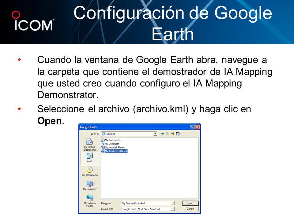 Cuando la ventana de Google Earth abra, navegue a la carpeta que contiene el demostrador de IA Mapping que usted creo cuando configuro el IA Mapping D