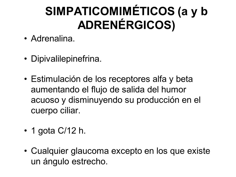 SIMPATICOMIMÉTICOS (a y b ADRENÉRGICOS) Adrenalina. Dipivalilepinefrina. Estimulación de los receptores alfa y beta aumentando el flujo de salida del