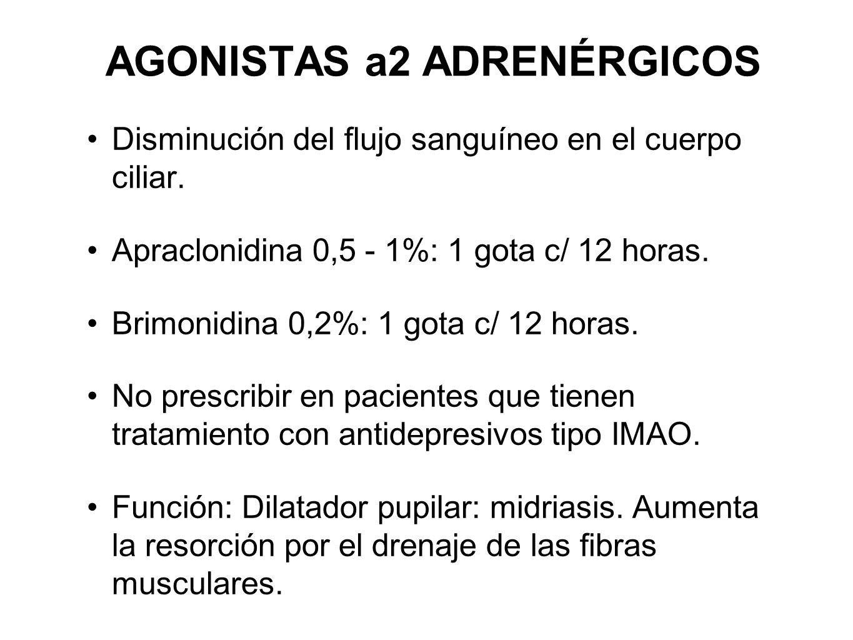 AGONISTAS a2 ADRENÉRGICOS Disminución del flujo sanguíneo en el cuerpo ciliar. Apraclonidina 0,5 - 1%: 1 gota c/ 12 horas. Brimonidina 0,2%: 1 gota c/