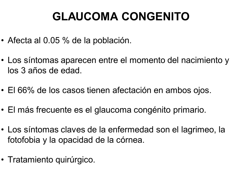 GLAUCOMA CONGENITO Afecta al 0.05 % de la población. Los síntomas aparecen entre el momento del nacimiento y los 3 años de edad. El 66% de los casos t
