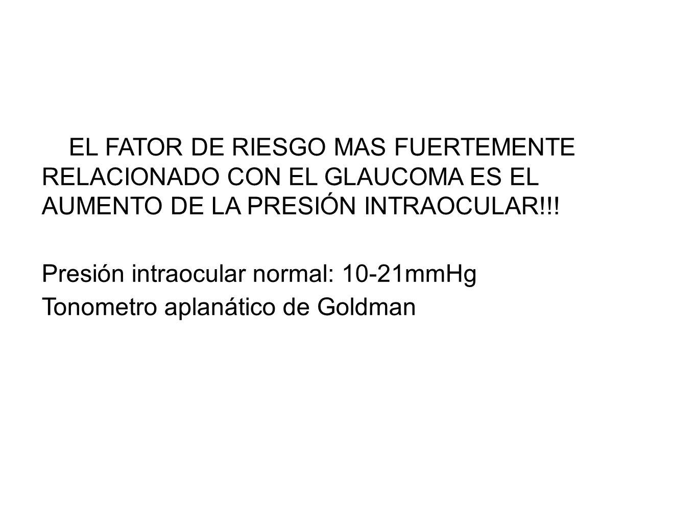 EL FATOR DE RIESGO MAS FUERTEMENTE RELACIONADO CON EL GLAUCOMA ES EL AUMENTO DE LA PRESIÓN INTRAOCULAR!!! Presión intraocular normal: 10-21mmHg Tonome